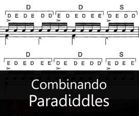 Combinando single e o double paradiddles. Exercícios de Aquiles Priester