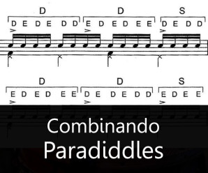 Combinando single e o double paradiddles. Exercícios de Aquiles Priester