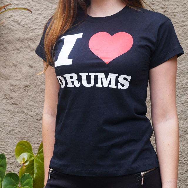 Baby Look I Love Drums - Clube do Baterista