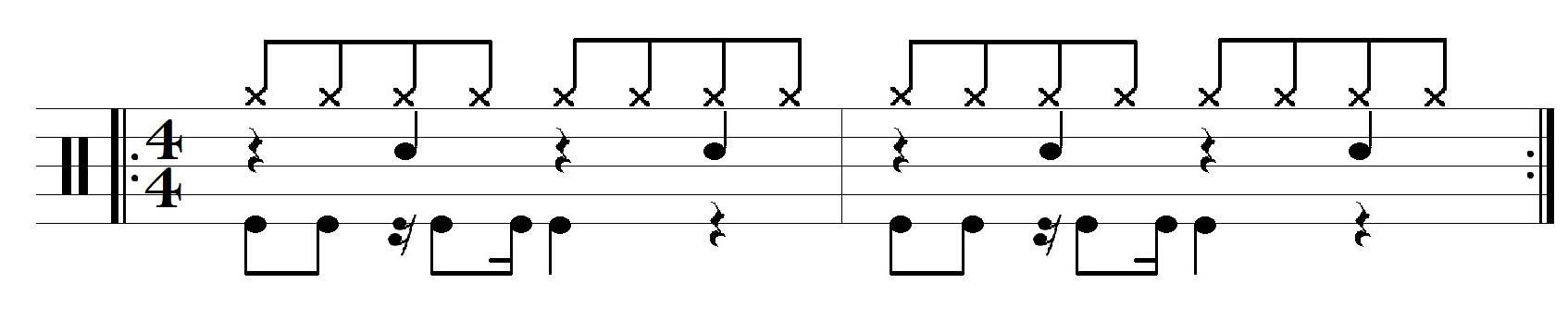 Aplicação de paradiddles no groove