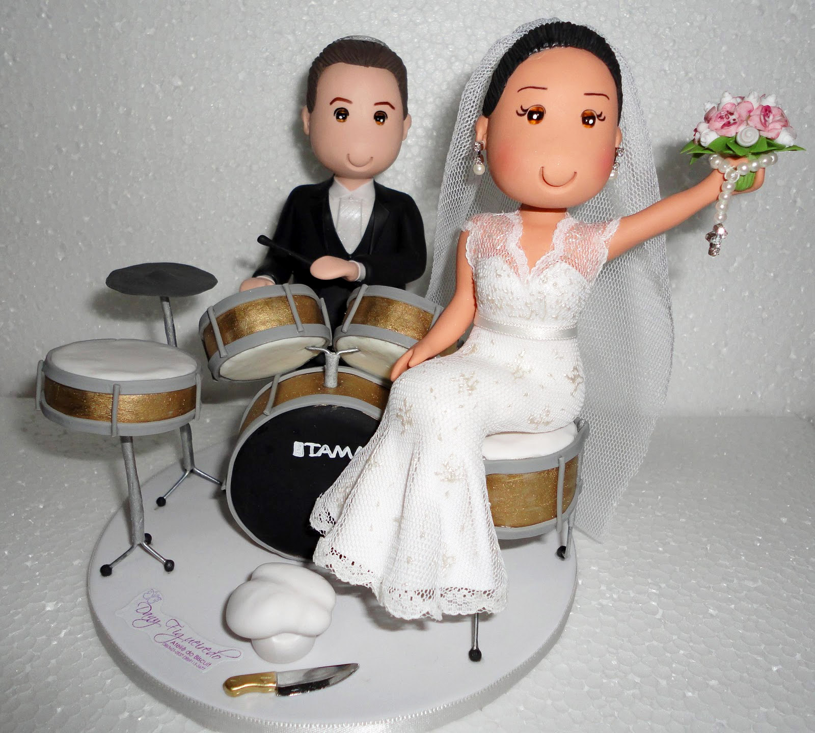 Inspiração para casamento - Topos de bolo para noivos bateristas
